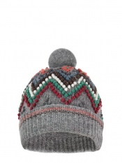 Ski grey wool bobble hat