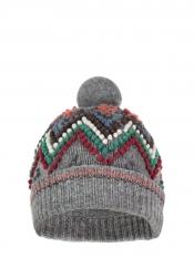 Ski grey wool bobble hat