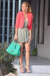 Porter Grey Pleated Chiffon Skirt in Floral Print as seen on BLAKE LIVELY