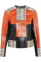 PROENZA SCHOULER Patchwork perforated leather and snake jacket