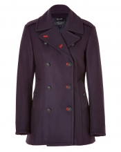 RAG & BONE Wool Battle Pea Coat in Eggplant