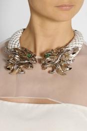 ROBERTO CAVALLI Dragon gold-plated, enamel and Swarovski crystal necklace