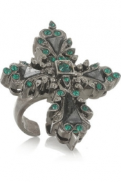 ROBERTO CAVALLI Palladium-plated Swarovski crystal and hematite cross ring