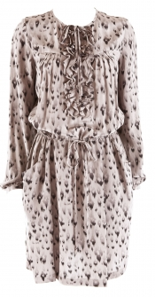 Leopard Ruffle Dress Taupe