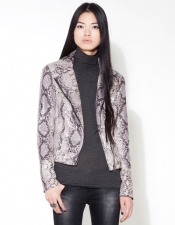 Snake print fake leather jacket