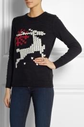 TIBI Reindeer-intarsia cotton-blend sweater