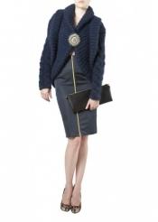 Blue navy handmade knit jacket