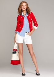 Anchor cardigan and white denim short