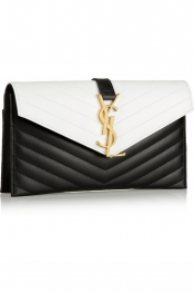 SAINT LAURENT Monogramme quilted leather envelope clutch