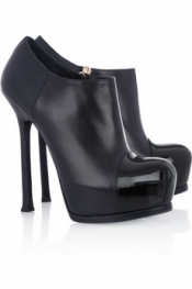 Yves Saint Laurent Tribtoo patent and leather ankle boots